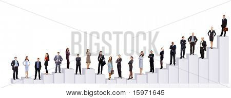 Business people team and diagram. Isolated over white background
