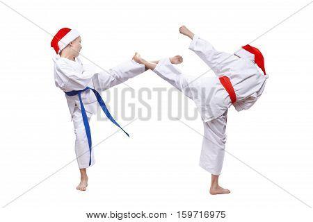 Two boys athletes are beating kick leg