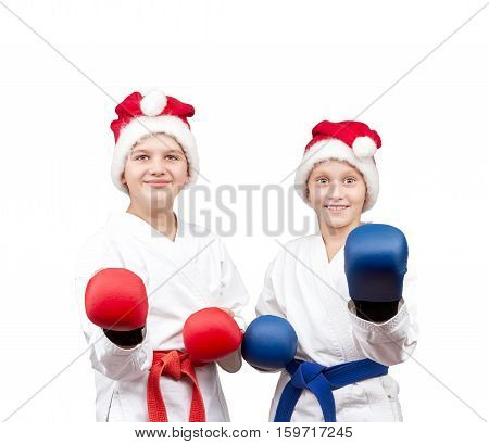 Boy and girl with the overlays on the hands are in the rack karate
