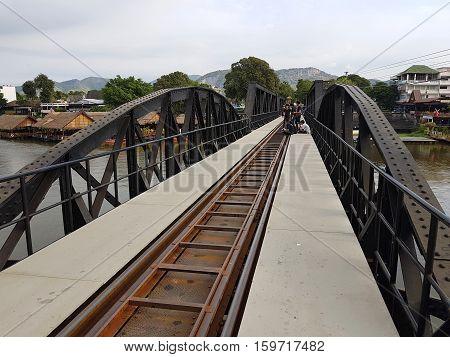 KANCHANABURI THAILAND - NOVEMBER 26: Bridge on the river Kwai on November 26 2016 in Kanchanaburi Thailand