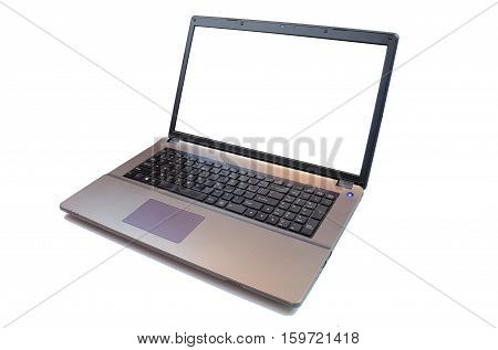 Laptop with blank screen isolated on white background, black aluminium body