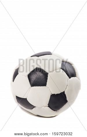 classic leather black and white soccer ball isolated on white background