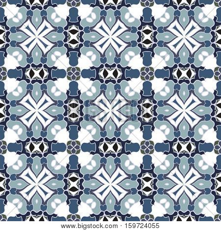 Blue and white seamless pattern in the classical style for the Christmas or festive wrapping paper.