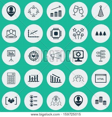 Set Of 25 Universal Editable Icons. Can Be Used For Web, Mobile And App Design. Includes Elements Such As Investment, Presentation, Questionnaire And More.