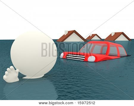 3D flooding - isolated over a white background