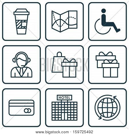 Set Of 9 Transportation Icons. Can Be Used For Web, Mobile, UI And Infographic Design. Includes Elements Such As Hotel, Accessibility, Credit And More.
