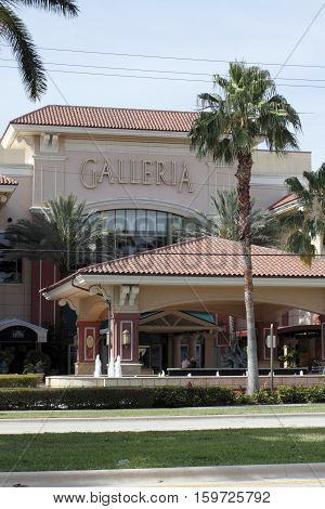 Fort Lauderdale FL USA - April 30 2016: Entrance signs to Galleria Mall at Palm Court market entry. Front entrance to the Galleria Mall nearest restaurants.