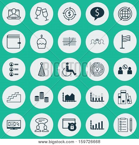 Set Of 25 Universal Editable Icons. Can Be Used For Web, Mobile And App Design. Includes Elements Such As Champagne Glasses, Birthday Cake, Segmented Bar Graph And More.