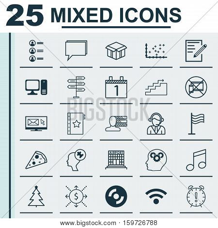 Set Of 25 Universal Editable Icons. Can Be Used For Web, Mobile And App Design. Includes Elements Such As Newsletter, Paper, Human Mind And More.