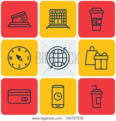 Set Of 9 Transportation Icons. Can Be Used For Web, Mobile, UI And Infographic Design. Includes Elements Such As Coffee, Paper, Building And More.