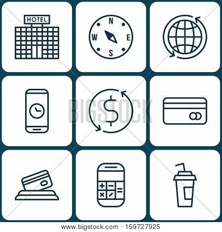 Set Of 9 Traveling Icons. Can Be Used For Web, Mobile, UI And Infographic Design. Includes Elements Such As Exchange, Debit, Map And More.