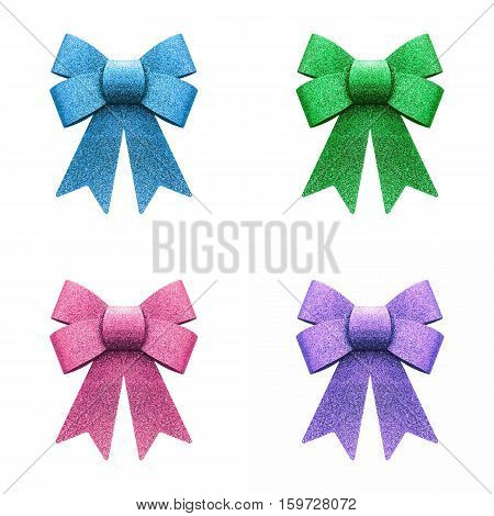 Glitter blue green pink and purple bow isolated on white background