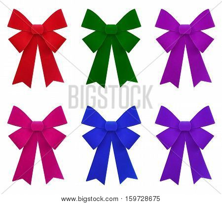 red blue green pink and purple bow isolated on white background