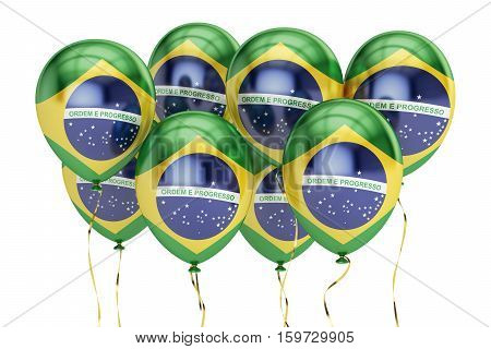 Balloons with flag of Brazil holiday concept. 3D rendering isolated on white background