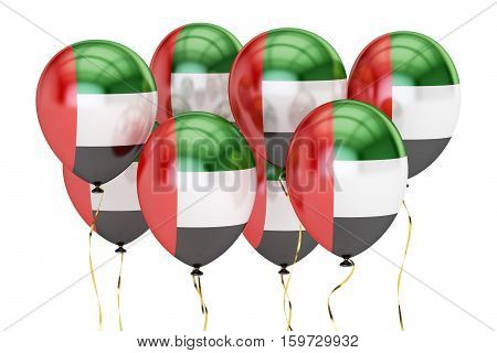 Balloons with flag of United Arab Emirates holyday concept. 3D rendering isolated on white background