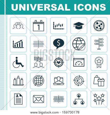 Set Of 25 Universal Editable Icons. Can Be Used For Web, Mobile And App Design. Includes Elements Such As Cooperation, Wax, Stock Market And More.