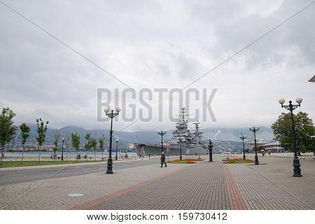 Novorossiysk Republic Street And Admiral Serebryakov Quay In The City Of Novorossiysk