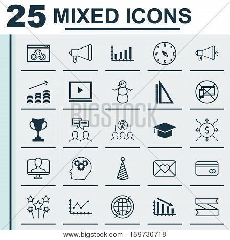 Set Of 25 Universal Editable Icons. Can Be Used For Web, Mobile And App Design. Includes Elements Such As Tournament, Coins Growth, Fail Graph And More.