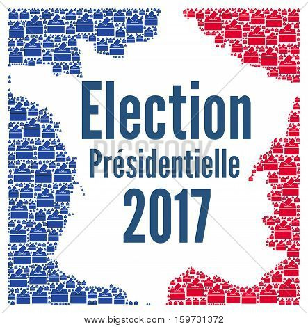 French presidential election 2017 concept with french map