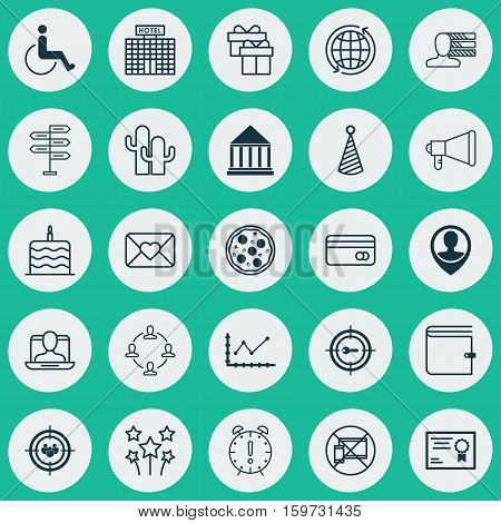 Set Of 25 Universal Editable Icons. Can Be Used For Web, Mobile And App Design. Includes Elements Such As Birthday Hat, Keyword Marketing, Collaboration And More.