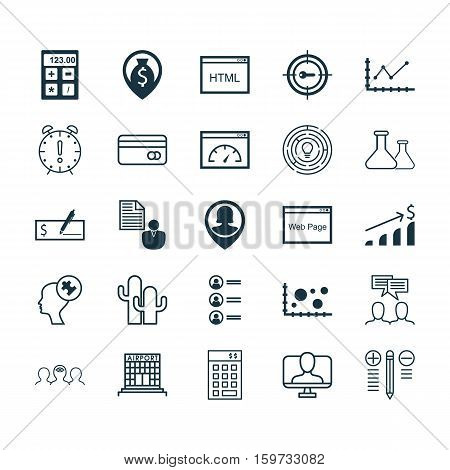 Set Of 25 Universal Editable Icons. Can Be Used For Web, Mobile And App Design. Includes Elements Such As Coding, Investment, Keyword Marketing And More.