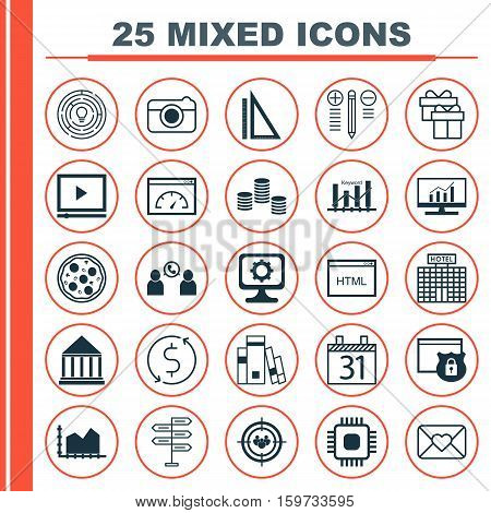 Set Of 25 Universal Editable Icons. Can Be Used For Web, Mobile And App Design. Includes Elements Such As PC, Keyword Optimisation, Opportunity And More.