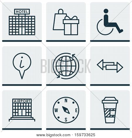 Set Of 9 Transportation Icons. Can Be Used For Web, Mobile, UI And Infographic Design. Includes Elements Such As Hotel, Office, Arrows And More.