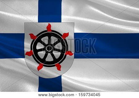 Flag Of Lahti is a city and municipality in Paijanne Tavastia region in Finland. 3d illustration