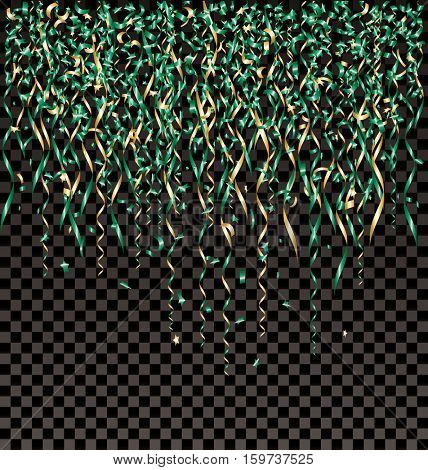 vector falling golden and green confetti on transparent background, layered and editable