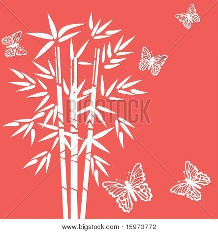 bamboo with butterflies  vector