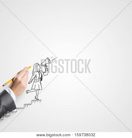 Female hand drawing with pencil businesswoman on white background