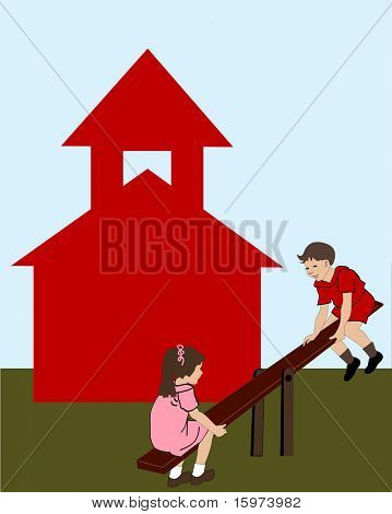 boy and girl on seesaw in front of