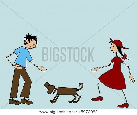 cartoon stick kids with dog vector