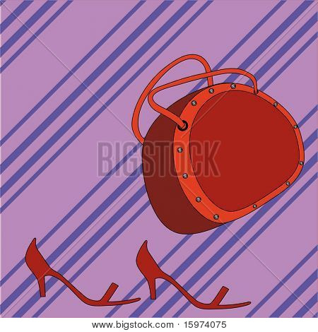 purse and shoes vector
