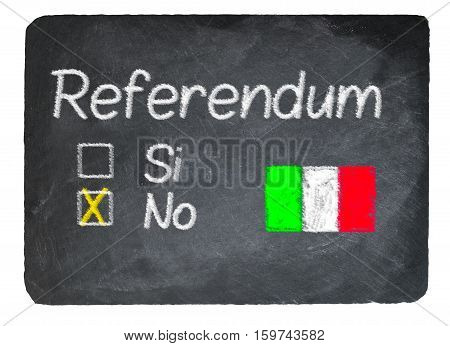 Italy Referendum Concept Using Chalk On Slate Blackboard