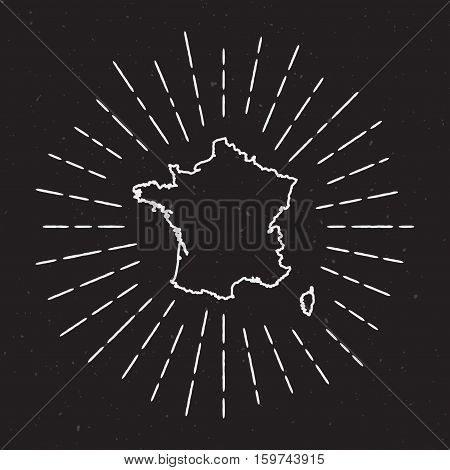 France Vector Map Outline With Vintage Sunburst Border. Hand Drawn Map With Hipster Decoration Eleme