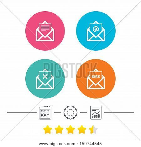 Mail envelope icons. Message document symbols. Post office letter signs. Delete mail and SMS message. Calendar, cogwheel and report linear icons. Star vote ranking. Vector