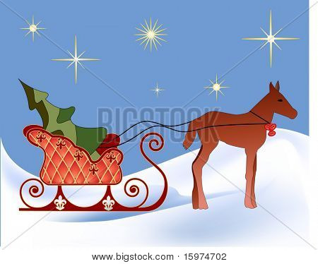 horse pulling sleigh with christmas tree on winter night