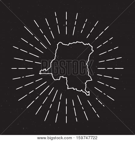 Congo, The Democratic Republic Of The Vector Map Outline With Vintage Sunburst Border. Hand Drawn Ma