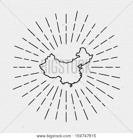 Vector China Map Outline With Retro Sunburst Border. Hand Drawn Hipster Decoration Element. Black Ra