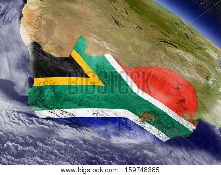 South Africa With Embedded Flag On Earth