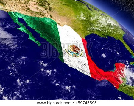 Mexico With Embedded Flag On Earth