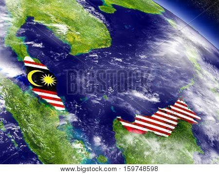 Malaysia With Embedded Flag On Earth