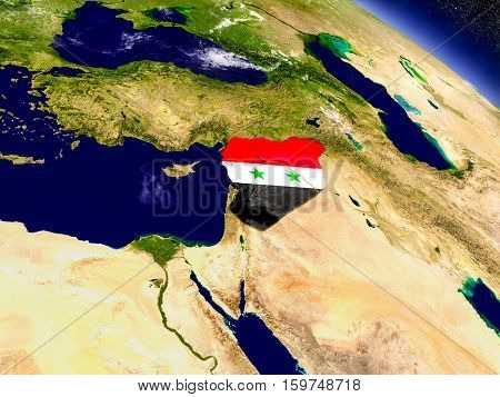 Syria With Embedded Flag On Earth