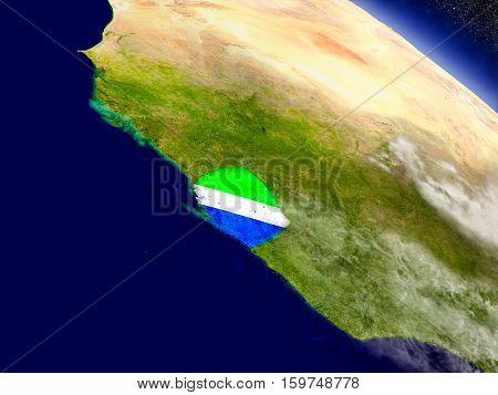 Sierra Leone With Embedded Flag On Earth