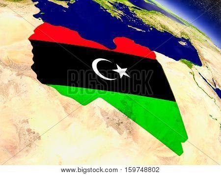 Libya With Embedded Flag On Earth