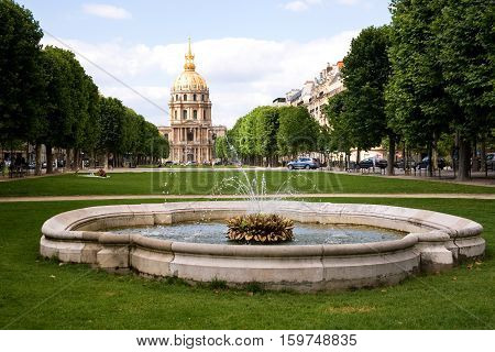Hotel des Invalides and a fountain Paris France