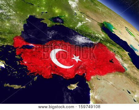 Turkey With Embedded Flag On Earth