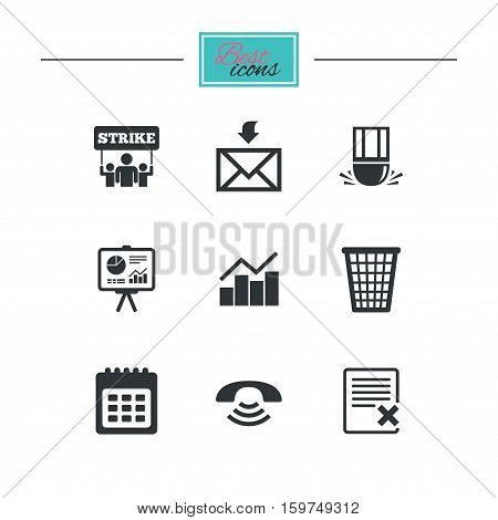 Office, documents and business icons. Call, strike and calendar signs. Mail, presentation and charts symbols. Black flat icons. Classic design. Vector
