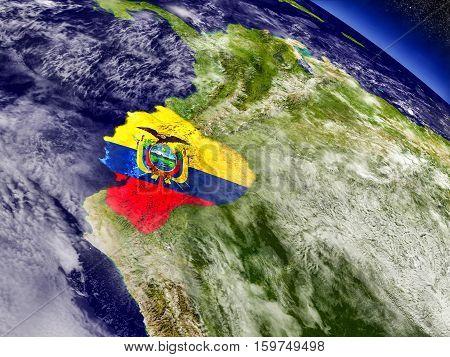Ecuador With Embedded Flag On Earth